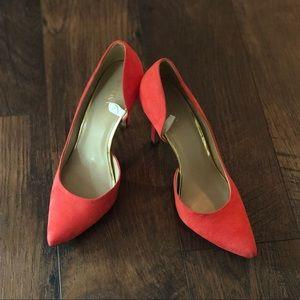 Coral suede heels